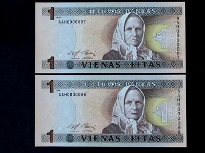 LITHUANIA 1994, 1 Litas Collectible Banknotes Set of 2. UNC. Sequenced Numbers