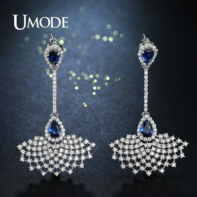 UMODE Fashion Big Bule Clear CZ Brincos Dress Shape Long Crystal Drop Earrings