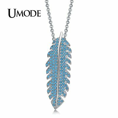 UMODE New Long Leaf Lake Blue CZ Stone Pendant Necklace for Women Feather