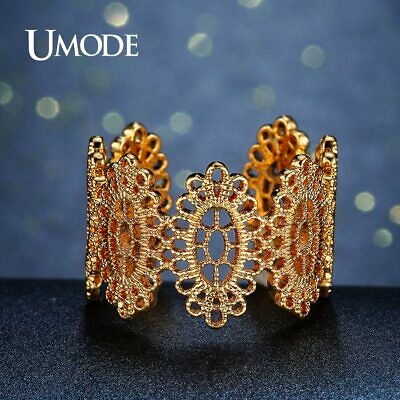 UMODE Trendy Oval Flower Cocktail Ring for Women Gold Color Party Jewelry Open
