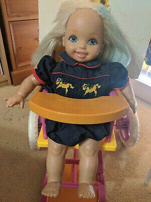 Kelly doll with convertible high chair, change table and clothing
