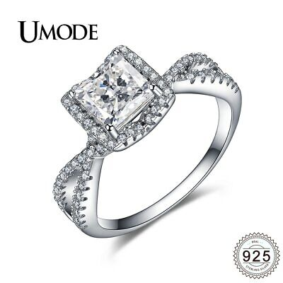 UMODE Fashion Trendy 925 Sterling Silver Engagement Rings for Women Princess