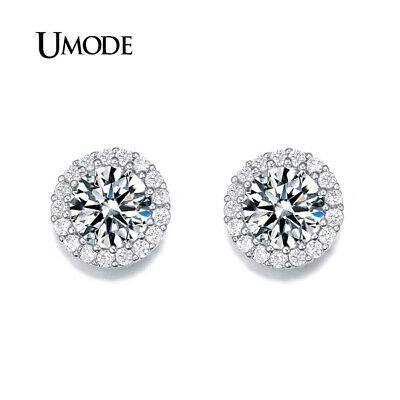 UMODE Fashion Hearts & Arrows Perfect Cut  Cubic Zirconia Crystal Stud Earrings