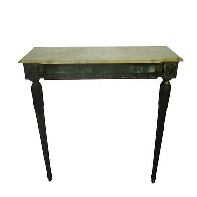 Demi Lune Wall Console table Wood Ornate Resin  Marble Top Louis XV Style