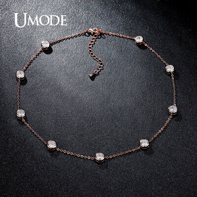 UMODE Vintage 0.66ct Simulated Cubic Zirconia Rose Gold Color Choker Necklaces