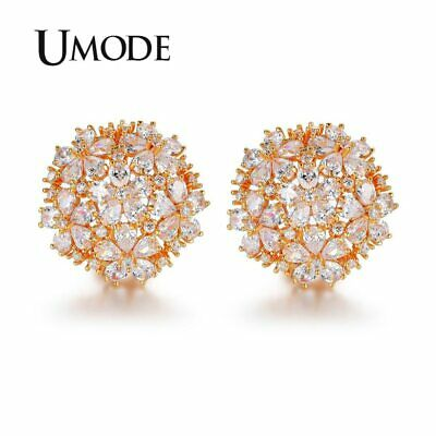 UMODE Latest Pear Cut Cluster Flower Top Quality CZ  Gold-color French Clip