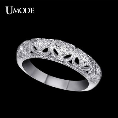 UMODE White Gold Color Top Grade Tiny Cubic Zirconia Carve Craft Filigree Band