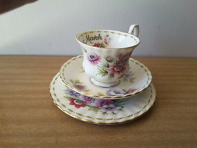 """Royal Albert  Flowers Of The Month """"march"""" Trio"""