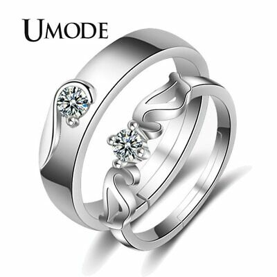UMODE Crystal Silver Color Fashion Wedding Engagement Couple Rings Sets Cubic
