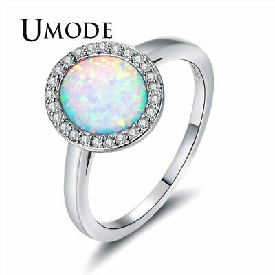 UMODE Fashionable White Fire Opal Rings for Womens Egg Princess Crystal Jewelry