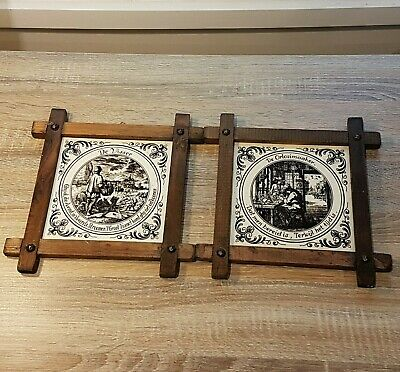2 X Antique Wall Hanging Pictures Tiles Vintage De Orlosimaaker De Visser