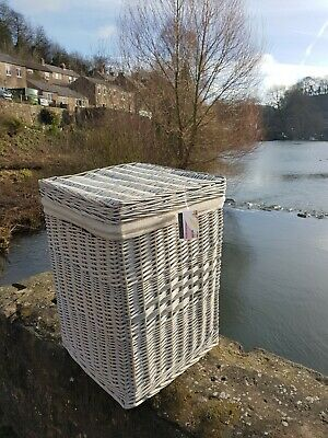 Quality Square white wash Lined Linen wicker Landry basket
