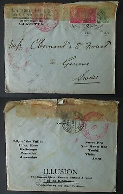 INDIA 1916 censor cover CALCUTTA to SWITZERLAND war WW1 stamps