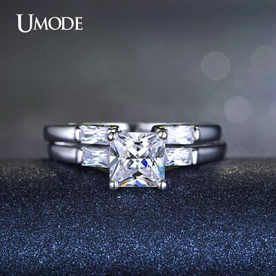 UMODE Princess Cut Sona Zirconia Cubic Zirconia Aneis Two Bands Ring Set White