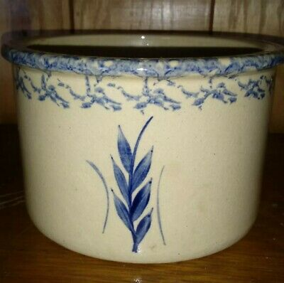 Robinson Ransbottom 1qt. LOW CROCK Tan Blue Wheat Spray Spongeware Roseville, OH