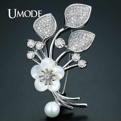 UMODE Pretty New Arrivals Christmas Flower Brooches for Women Silver Color