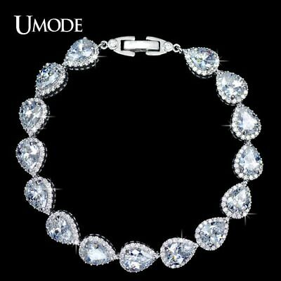 UMODE Pear cut Pure Clear Color Cubic Zirconia Connected Jewelry Bracelet
