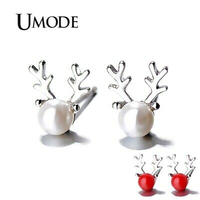 UMODE Luxury Brand Red Beads Pearl Deer Stud Earrings Fashion Jewelry Gifts for