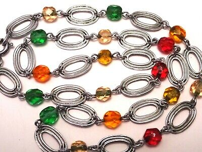 Antique Art Deco Silver Tone & glass Bead Necklace c1930.