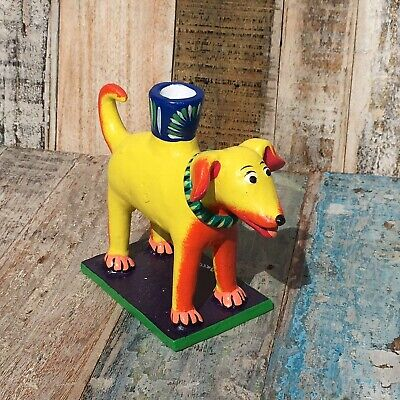 Mexican Ceramic Folk Art Dog Candle Holder Yellow