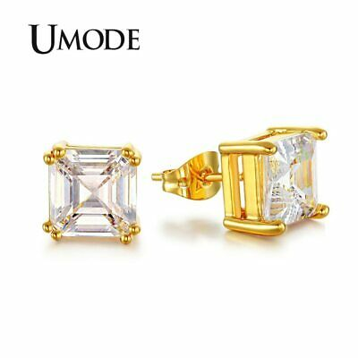 UMODE 8mm 2.5 Carat Asscher Cut Clear Cubic Zirconia Gold-color Cubic Zirconia
