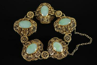 Republic Period Chinese Gilded Silver Filigree and Jadeite Bracelet, Mark