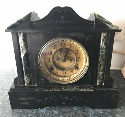 Victorian Marble And Black Slate Clock