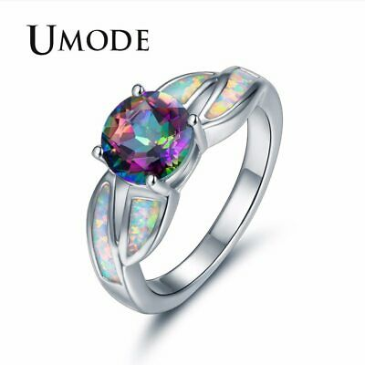UMODE Vintage Colorful Fire Opal Rings for Women Round Princess Crystal Wedding