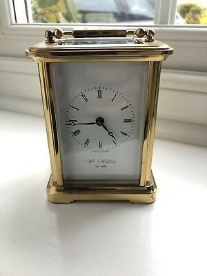 Antique Wm Widdop Heavy Brass Glass Carriage clock, Swiss Movement, Hand Wind