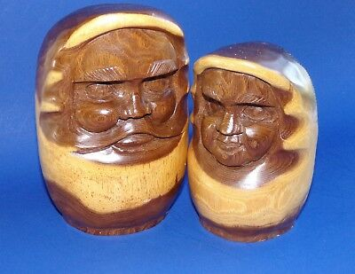 Hand Carved Wooden Statues Man Woman Made in Poland Couple Vintage