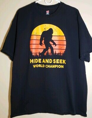 55ebce7bc Hide And Seek World Champion Bigfoot Is Real Black T-Shirt Crew Neck size 2