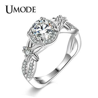 UMODE Fashion Flower Wedding Promise Engagement Rings for Women Cubic Zirconia