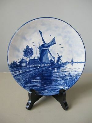 "Vintage DELFT BLAUW Hand Painted Blue White Windmill Collector 7"" Plate Holland"