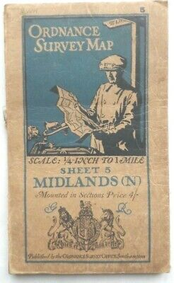 Antique OS Ordnance Survey Quarter Inch Cloth Map Midlands (N), 1923