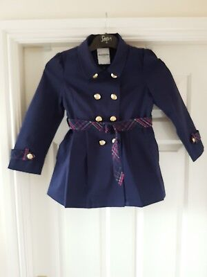 Balabala Girls Double Breasted Coat In Navy Colour Age 120 5/6 Yrs Old