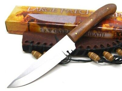 Brown Wood Handle Straight Fixed Blade Full Tang Patch Knife + Sheath PA3294