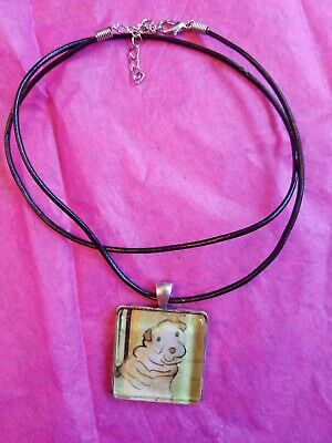 AKC dog breed Chinese Shar Pei vintage like crystal necklace