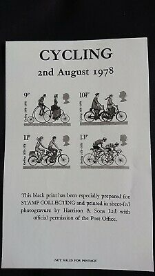 Gb 1978 Cycling Issue Black Print/ Produced For Stamp Collecting Magazine