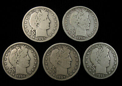 Lot of 5 Barber Half Dollars 1893-P,1898-P,1906-D,1907-D,1915-S G-VG Free Ship!