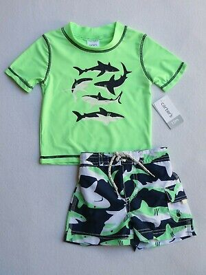 NWT Carter's Boys Rash guard Swimsuits Size 12 Months Whale Blue Kids UPF50+