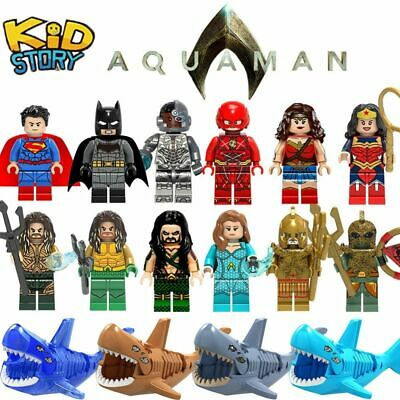 Lego Aquaman Super Man Hero Minifigure Captain Marvel Batman Movie Series Figure