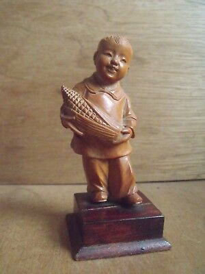 Chinese Cultural Revolution Boxwood Carving of a Boy Holding Corn