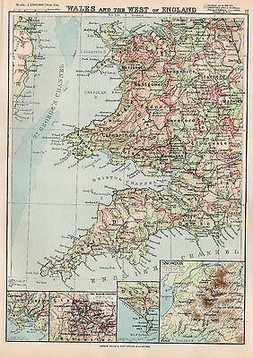 Map Of  Wales and the West Of England 1894 Original Antique