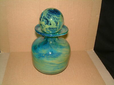 Lovely Mdina Etched Swirling Sea Greens Shaped Art Glass Bottle & Stopper