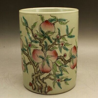 Chinese old porcelain Hand painted famille rose peach brush pot