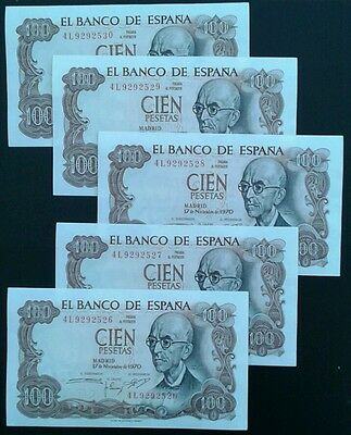SPAIN _100 pesetas x 5 notes_ p152 _1970 _ consecutive _ gef/aunc