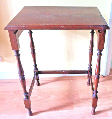 Antique Edwardian side table coffee bedside table turned wood legs upcycle chic