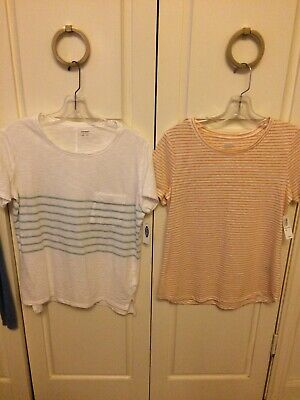 NWT LOT Of 2 Old Navy White Stripe Shirt Mint Yellow New With Tags XS