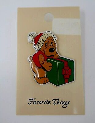 Pound Puppy Wrinkle Dog Shar Pei Holiday Enamel Pin RARE