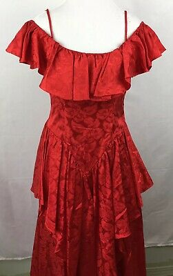 57252bd404c Vintage JC Penney Red Floral Off Shoulders Ruffle Top Womens Prom Dress  Size 7 8